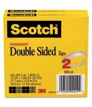 "Scotch 1/2"" x 36 yds Clear Double-Sided Tape, 3"" Core, 2-Pack"
