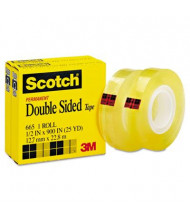 "Scotch 1/2"" x 25 yds Clear Double-Sided Tape, 1"" Core, 2-Pack"