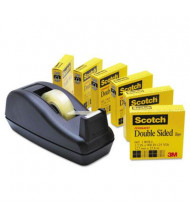 """Scotch Double-Sided Permanent Tape with C40 Dispenser, Clear, 6-Pack, 1"""" Core"""