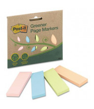 "Post-It 1"" x 3"" Greener Page Markers, Pastel Assorted, 200 Markers/Pack"
