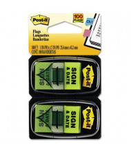"""Post-It 1"""" x 1-3/4"""" """"Sign and Date"""" Message Arrow Page Flags, Green, 100 Flags/Pack"""
