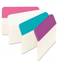 "Post-It 2"" x 1-1/2"" Angled Hanging File Tabs, Aqua/Pink/Violet/White, 24/Pack"