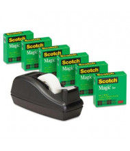 "Scotch Magic Tape 6-Pack with C-40 Dispenser, Black, 1"" Core"