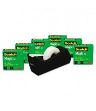 """Scotch Magic Tape with C38 Dispenser, Clear, 6-Pack, 1"""" Core"""