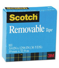 "Scotch 3/4"" x 1296"", 1"" Core Removable Tape, Clear"