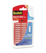 "Scotch 1"" x 3"" Restickable Mounting Tabs, Clear, 6/Pack"