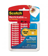 """Scotch 1/2"""" Restickable Mounting Tabs, Clear, 108/Pack"""