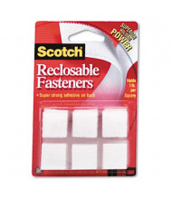 "Scotch 7/8"" Reclosable Hook & Loop Fastener Squares, White, 24 Sets/Pack"