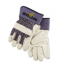 MCR Safety Memphis Mustang X-Large Leather Palm Gloves, Blue/Cream, 12 Pairs