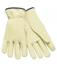 MCR Safety Memphis Large Full Leather Cow Grain Driver Gloves, Tan, 12 Pairs