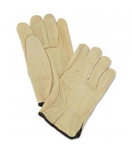 MCR Safety Memphis Large Unlined Pigskin Driver Gloves, Cream, 12 Pairs