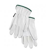 MCR Safety Memphis Medium Grain Goatskin Driver Gloves, White, 12 Pairs