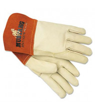 MCR Safety Memphis Mustang Large MIG & TIG Leather Welding Gloves, White/Russet, 12 Pairs