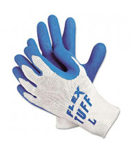 MCR Safety Memphis FlexTuff Large Latex Dipped Gloves, White/Blue, 12 Pairs