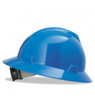 MSA V-Gard Fas-Trac Ratchet Suspension Hard Hat, Size 6-1/2 to 8, Blue