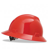 MSA V-Gard Fas-Trac Ratchet Suspension Hard Hat, Size 6-1/2 to 8, Red