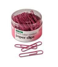 Officemate PVC-Free Plastic Coated Wire Jumbo Paper Clips, Pink, 80/Pack