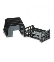Officemate 5-Section Plastic Incline Sorter with 2 Trays, Black