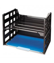 Officemate Two-Tier Recycled High Rise Desk Letter Tray, Black