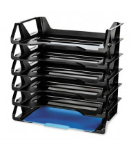 Officemate Six-Tier Recycled Side-Load Desk Letter Tray, Black