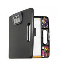 "Officemate 1"" Capacity 12"" x 13-1/10"" Portable Storage Clipboard Case with Calculator, Charcoal"