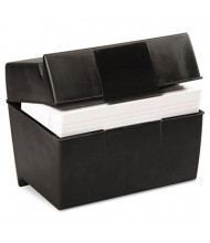 "Oxford Plastic Index Card Flip Top File Box Holds 500 5"" x 8"" Cards, Matte Black"
