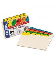 "Oxford 1/5 Tab 3"" x 5"" Alphabetic Index Card Guides, Manila, 1 Set"