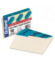"Oxford 1/3 Tab 4"" x 6"" 12-Month Index Card Guides, Manila, 1 Set"