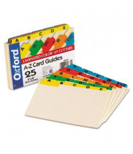 "Oxford 1/5 Tab 4"" x 6"" Alphabetic Index Card Guides, Manila, 1 Set"