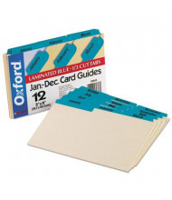 "Oxford 1/3 Tab 5"" x 8"" 12-Month Index Card Guides, Manila, 1 Set"
