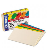"Oxford 1/5 Tab 5"" x 8"" Alphabetic Index Card Guides, Manila, 1 Set"
