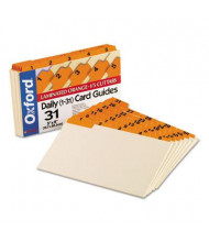 "Oxford 1/5 Tab 5"" x 8"" 31-Day Index Card Guides, Manila, 1 Set"