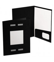 "Oxford 80-Sheet 8-1/2"" x 11"" Laserview Two-Pocket Portfolio, Black, 10-Pack"
