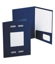 "Oxford 80-Sheet 8-1/2"" x 11"" Laserview Two-Pocket Portfolio, Blue, 10-Pack"