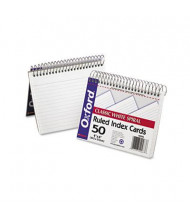 "Oxford 4"" x 6"", 50-Cards, White, Ruled Spiral Bound Index Cards"