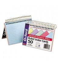 "Oxford 3"" x 5"", 50-Cards, Assorted Colors, Ruled Spiral Bound Index Cards"