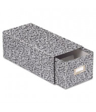 """Oxford Reinforced Board Card File with Pull Drawer Holds 1500 4"""" x 6"""" Cards, Black Marble"""