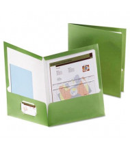 "Oxford 100-Sheet 8-1/2"" x 11"" Laminated Two-Pocket Portfolio, Metallic Green, 25/Box"