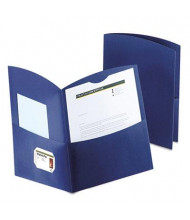 "Oxford 100-Sheet 8-1/2"" x 11"" Contour Two-Pocket Recycled Paper Folder, Dark Blue, 100/Box"