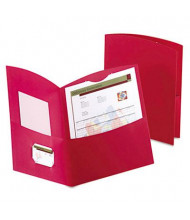 "Oxford 100-Sheet 8-1/2"" x 11"" Contour Two-Pocket Recycled Paper Folder, Red, 25/Box"