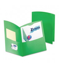 "Oxford 100-Sheet 8-1/2"" x 11"" Contour Two-Pocket Recycled Paper Folder, Green, 100/Box"