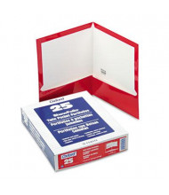 "Oxford 100-Sheet 8-1/2"" x 11"" Laminated Two-Pocket Portfolio, Red, 25/Box"