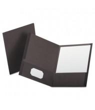 "Oxford 100-Sheet 8-1/2"" x 11"" Linen Two-Pocket Portfolio, Gray, 25/Box"