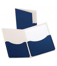 "Oxford 200-Sheet 8-1/2"" x 11"" Double Stuff Two-Pocket Laminated Paper Folder, Navy"