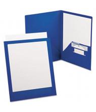 "Oxford ViewFolio Plus 100-Sheet 8-1/2"" x 11"" Poly Two-Pocket Portfolio, Blue/Clear"