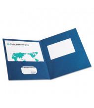 "Oxford 100-Sheet 8-1/2"" x 11"" Embossed Leather Grain Two-Pocket Portfolio, Blue, 25/Box"