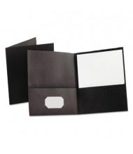 "Oxford 100-Sheet 8-1/2"" x 11"" Embossed Leather Grain Two-Pocket Portfolio, Black, 25/Box"