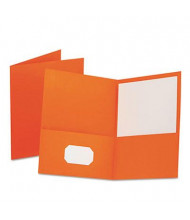 "Oxford 100-Sheet 8-1/2"" x 11"" Embossed Leather Grain Two-Pocket Portfolio, Orange, 25/Box"