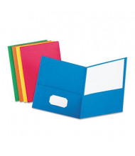 """Oxford 100-Sheet 8-1/2"""" x 11"""" Embossed Leather Grain Two-Pocket Portfolio, Assorted, 25/Box"""
