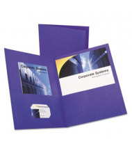 "Oxford 100-Sheet 8-1/2"" x 11"" Embossed Leather Grain Two-Pocket Portfolio, Purple, 25/Box"